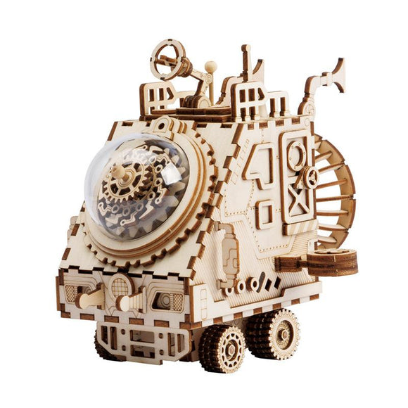 Robud Assembly Steam Punk Spaceship Model Wooden Music Box Building Kits Toys Hobbies Puzzle Gift for Children H67
