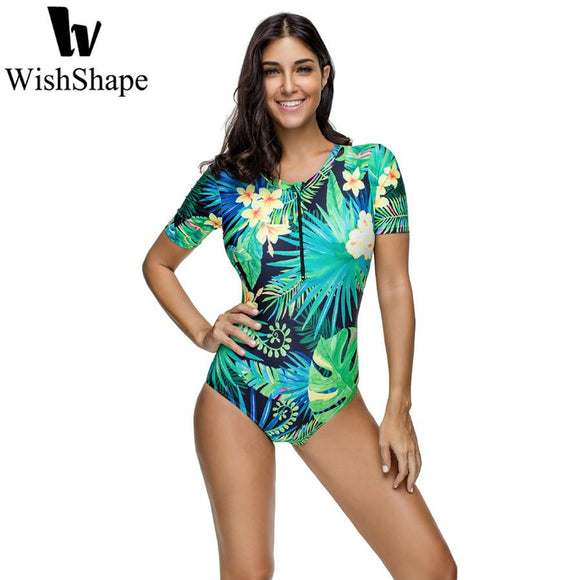 Sexy Leaf Floral Print Swimwear Women One Piece Swimsuit Female Brazilian Short Sleeve Surfing Bathing Suit Beach Swim Suits