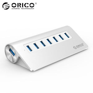 USB3.0 Hub ORICO Aluminum 7 Port Super Speed Hub with 12V/2.5A Power Adapter 3.3Ft. USB3.0 Cable Cord for iMac MacBook PC Laptop