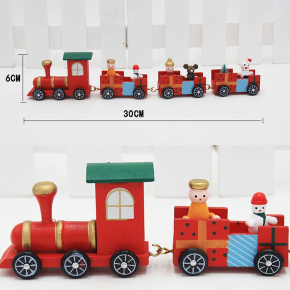 4 Piece Red Train Design Wood Train Ornament Decor Favorite Christmas Gift For Kids Home Lovely DIY Christmas Decoration