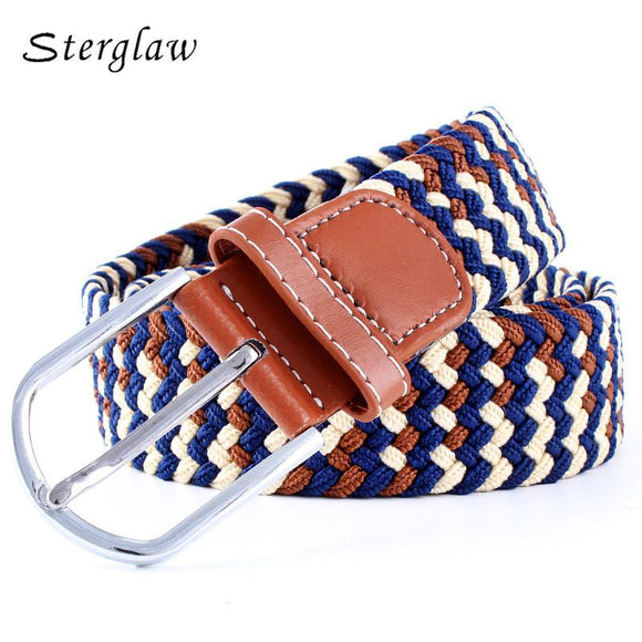 2018 Top Women Adult Solid New Canvas Woven Leather Belts Pin Buckle Elastic Waist Belt Jeans Women's Cinturones Mujer N075