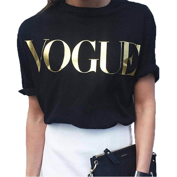VOGUE Letter Print T-Shirt Women O-neck Short Sleeve Cotton Loose Tshirt Summer Female Casual Korean Harajuku cute Top Tees --