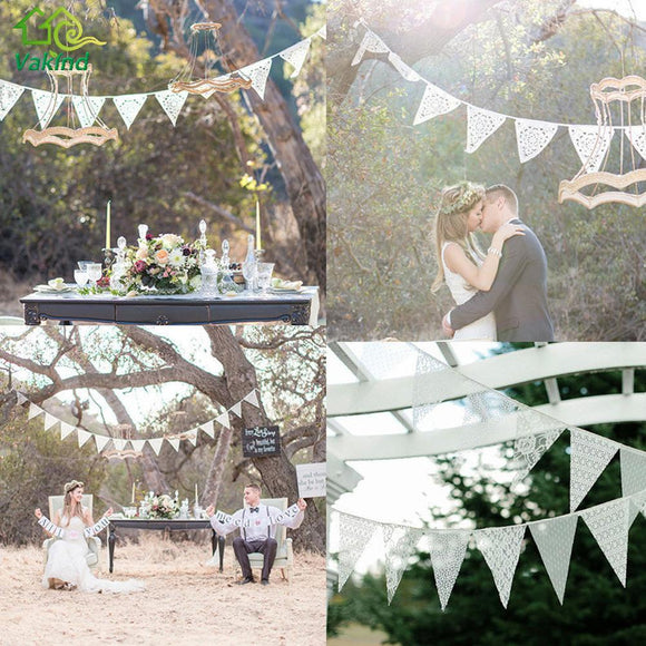 3.2M 11 Flag White Lace Fabric Banner Pennant Wedding Flag Bunting Decor Party Birthday Garland Wedding Home Decoration