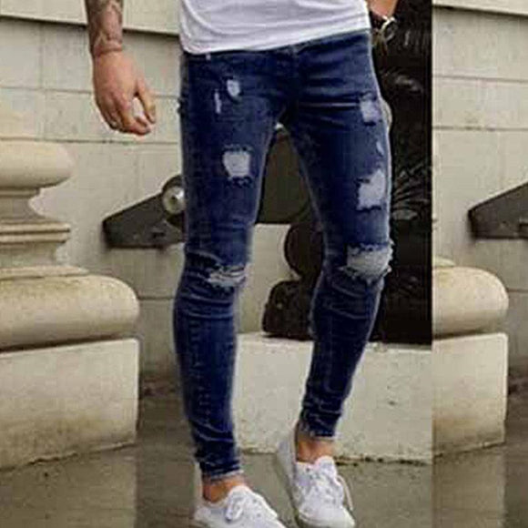 BORRUICE Brand Designer Skinny Jeans Men Slim Fit Ripped Denim Pants For Mens Distressed Streetwear Holes Washed Classic Jeans