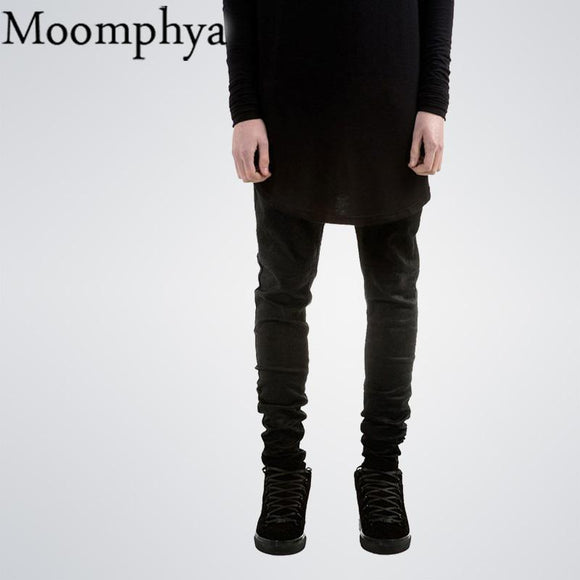 Black men Denim jeans Skinny jeans All black Slim Fit straight jeans men solid color High street biker jeans