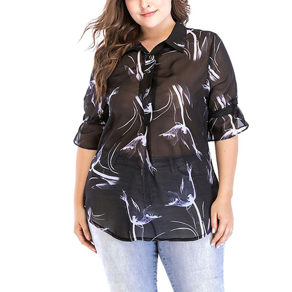 Women's Chiffon Shirts Casual Loose Summer T-shirt Half Sleeves Floral Blouse