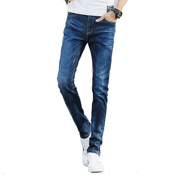 2018 spring and summer stretch denim trousers Slim feet jeans male young students Slim men's pants fashion trend