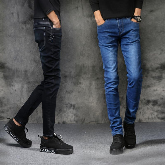 2018 summer fashion new brand men's jeans Slim thin section casual straight two color optional machine wash jeans pencil pants