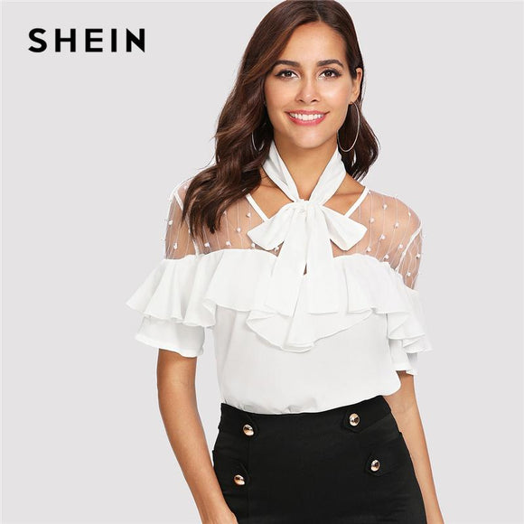 SHEIN White Elegant Mesh Insert Tied Neck Stand Collar Short Sleeve Solid Blouse Summer Women Going Out Casual Shirt Top
