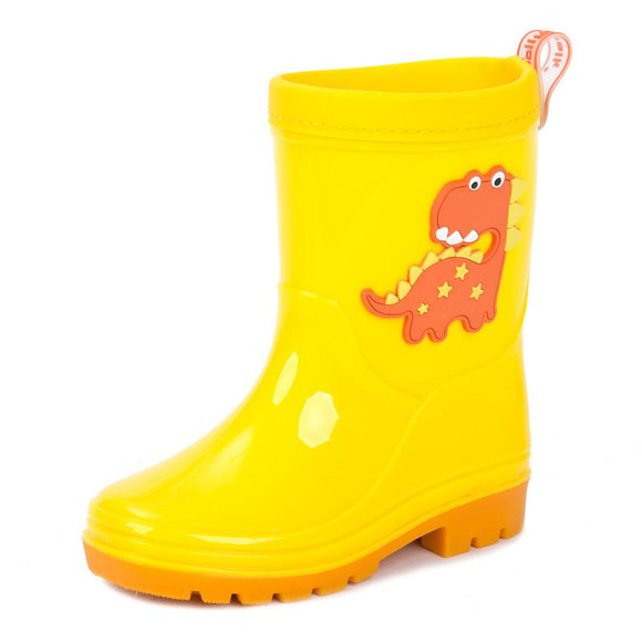 Children PU Shoes Kids Boys Cartoon Dinosaur Waterproof Rain Boots Child Toddler Antiskid Soft Rubber Boot Harmless for Children