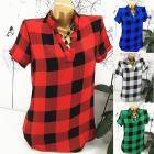 Women Short Sleeve V Neck Lattice Printed Shirt Blouse T-Shirt Casual Tops Size S-5XL