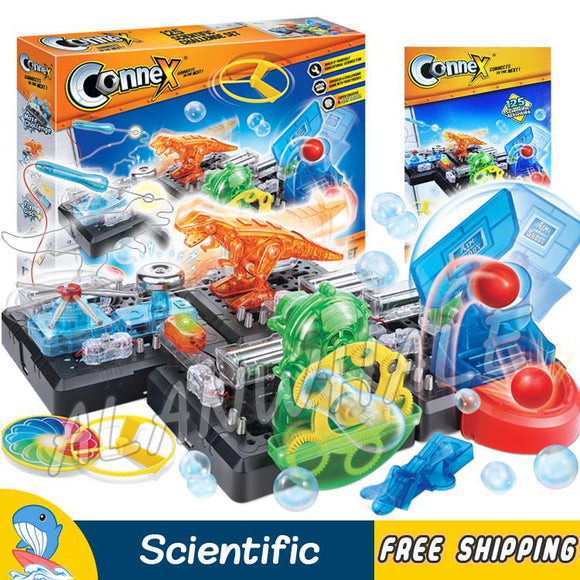 125 Multi Experiments Physics Science Set Challenge Scientific Kits Action Dino LED Light Bubble ABS Model Building Brain Toys