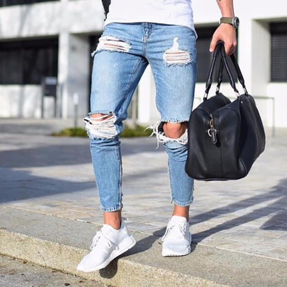 BORRUICE Summer Thin And Light Fashion Streetwear Mens Jeans Destroyed Ripped Design Fashion Pencil Pants Ankle Skinny Men Jeans