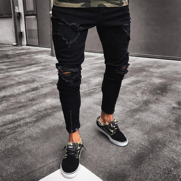 6990f98d045 2018 supper skinny hip hop jeans men ripped holes slim pants Homme Trousers New  Arrived Fashion