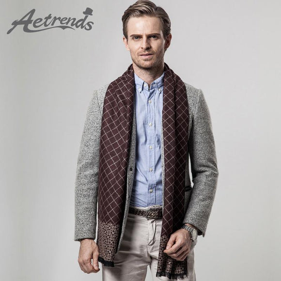 [AETRENDS] 2017 New Arrival Winter Scarfs Men's Business Plaid Scarf Cashmere Scarves Z-3455