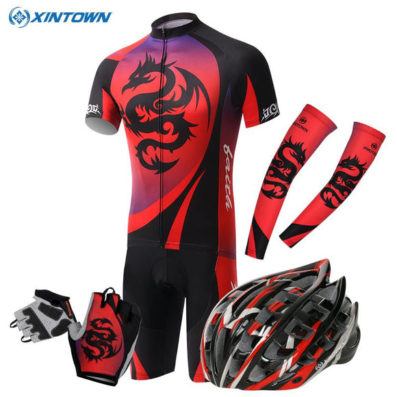 Red Dragon Xintown Cycling Jersey/Breathable Bike Clothing Helmet gloves Cuff Bicycle Clothes Ropa Ciclismo Cycling Wear