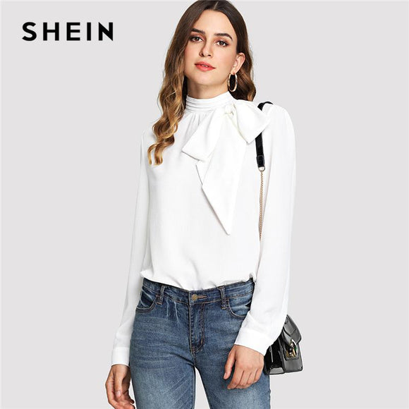 247ac2b04e SHEIN White Elegant Workwear Mock Neck Bow Embellished Stand Collar Long  Sleeve Solid Blouse Summer Women