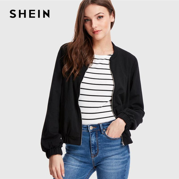 SHEIN Black Minimalist Streetwear Office Lady Workwear Zip Up Solid Bomber Round Neck Jacket Autumn Women Casual Jackets
