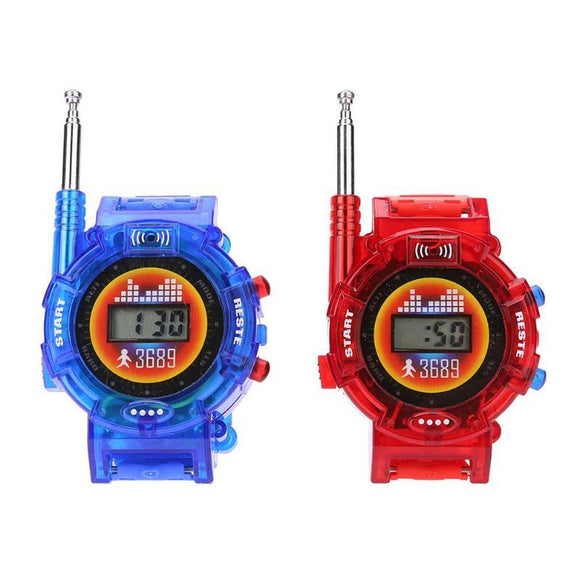2Pcs/Set 7 in1 Kids Novelty Toys Watch Walkie-talkie Intercom Toys Outdoor Interaction Battle Game With 12pcs Button Batteries