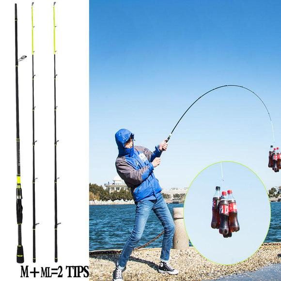 1d4a16243d3 Carbon Fishing Spinning Rod 2.1m 2.4m Casting Rod Carp Rod ML M 2 Tips