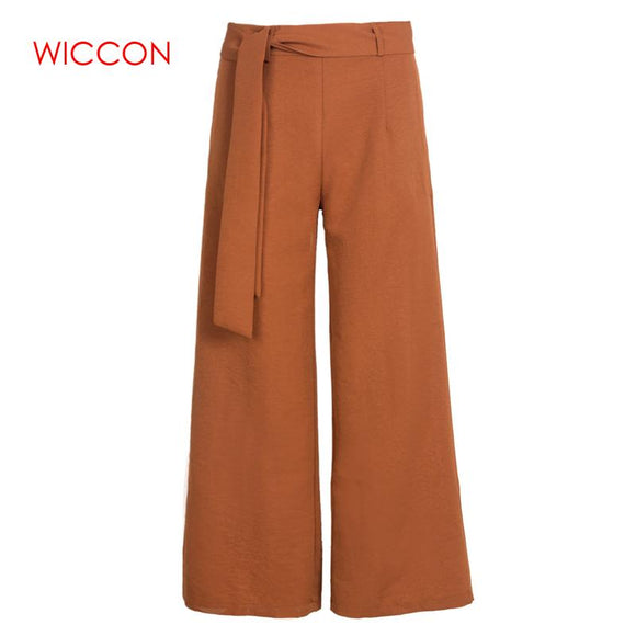 WICCON Women Wide Leg Chiffon Pants High Waist Trousers Black Brown Solid OL Office Pants Long Trousers Summer Spring Pants 2018