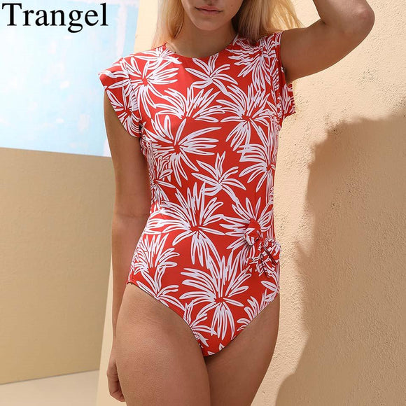 Trangel Tropical Print Swimsuit Crew Neck Swimwear Women Short Sleeve One Piece Swimsuit Padded Swimming Suit For Women