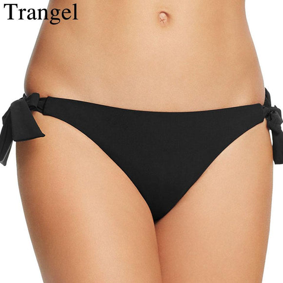 Trangel Sexy Black Brazilian Bikini Bottoms Women Swim Short Plants Low Waist Bottom Swim Trunks Swimsuit Two-Piece Separates