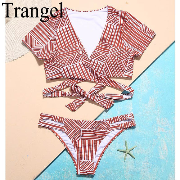 Trangel 2018 swimwear Bikini Women Cross Bandage Bikini Set Bathing Suit Female Swim Suit With Short Sleeves Biquini