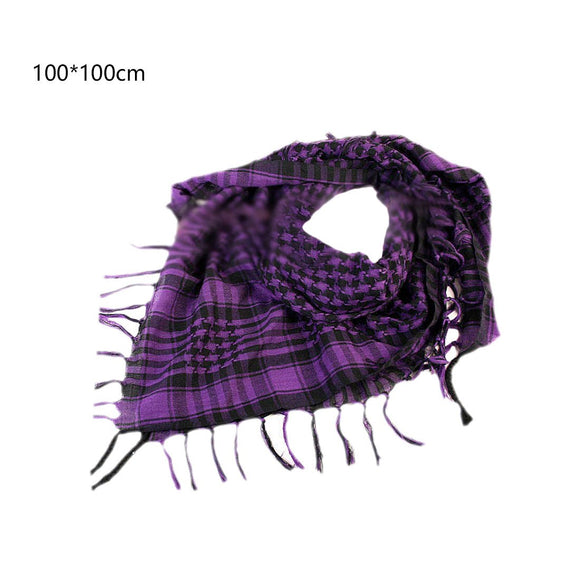 Fashion Cotton Thick Shemagh Tactical Desert Arab Scarves Men or Women Windy Military Windproof Plaid Printed Scarf 100x100cm
