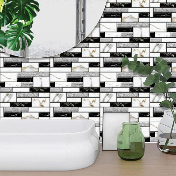 30x30cm 3D Marble Brick Stone Wall Stickers Self-Adhesive Wallpaper Home Decor Brick Art Wall Sticker for Bathroom