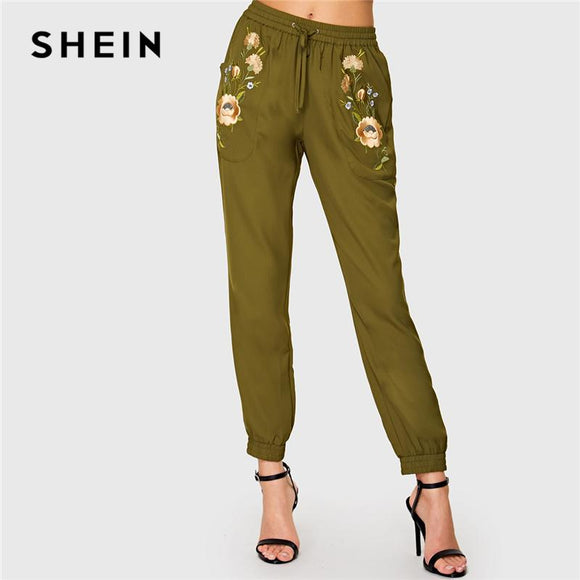 cba6bf1c9 SHEIN Army Green Highstreet Office Lady Elastic Waist Floral Embroidered  Drawstring Pants Autumn Women Workwear Casual