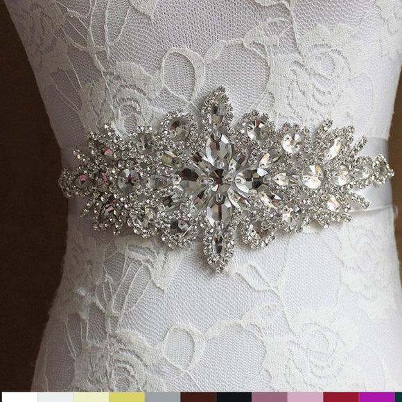 5 Colors Women Sash Elegant Rhinestone Satin Ribbon Wedding Bridal Belts Party Bride Bridesmaid Belt Dress Cummerbunds Waistband
