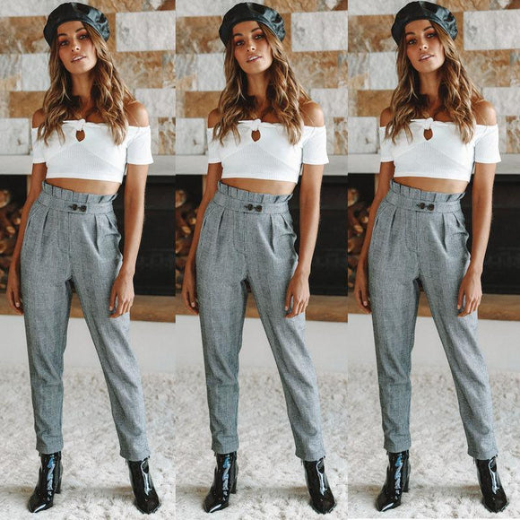 Women Autumn High Waist Long Pants Fashion Button Pleated Pencil Pants Trousers Skinny Slim Long Pant
