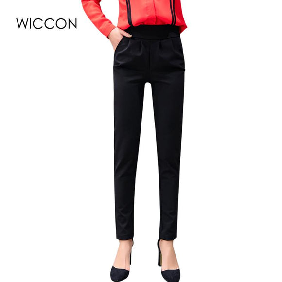 WICCON The New Spring Summer Harem pants Elastic Waist Casual Thin Pantalon Femme Vintage Black High Waist Casual Trousers Women