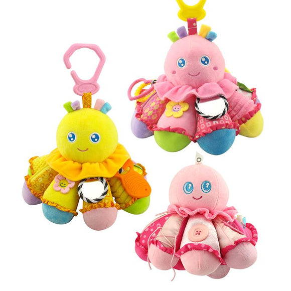 Educational safe mirror ring bell rattle hanging plush toy button Octopus kids ring paper fun soft baby toy WJ240