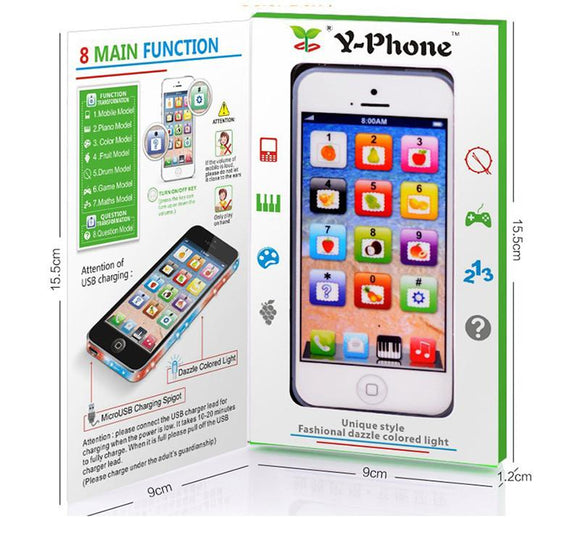 Fun Mini  Y-phone Box toys for children boys kids Learning Electronic Vocal Toys Cartoon with Lights Music English Language gift