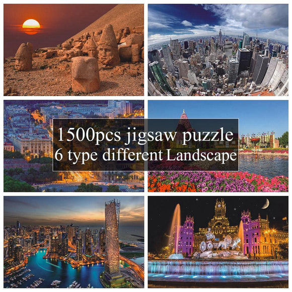 6 Style New Arrival 1500 Pcs Different Country Landscape Painting Puzzles Wooden Paper 1500 pieces Puzzle Toy Gift for Festival