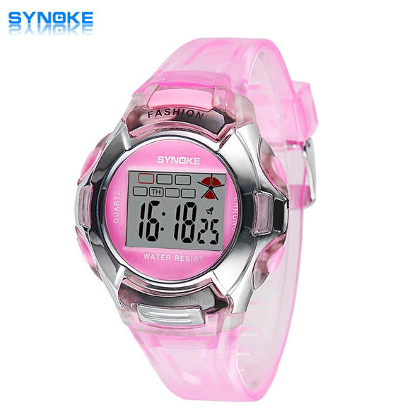 2018 Children's Dress Watches Fashion Casual Plastic Silicone Band Wristwatch 30M Waterproof Digital LED Boy Girl Watch relogio