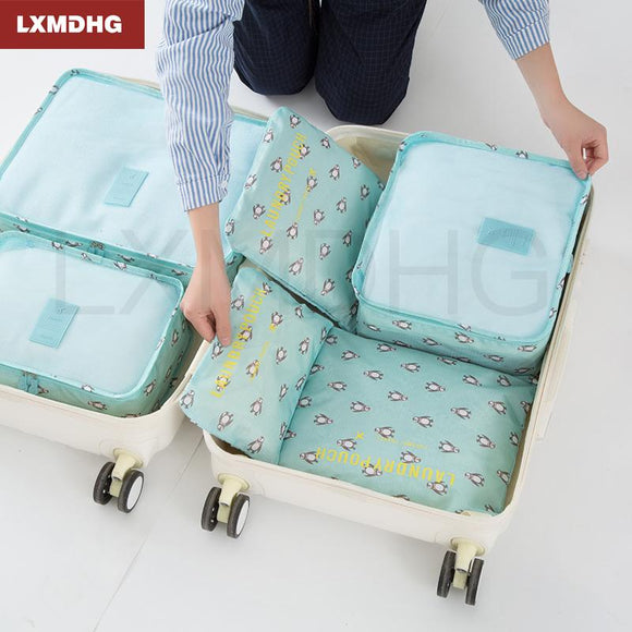 6PCS Travel Storage Bags Animals Print Storage Organizer Cosmetic Make Up Package Bags Portable Zipper Luggage Partition Pouch