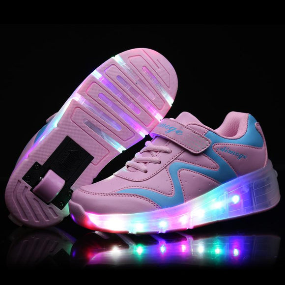Size  27-43//Children Tenis LED Sneakers Single  Wheels Flame Buty Led Luminous Boys Girls Toddler Roller Sneakers Glowing Shoes