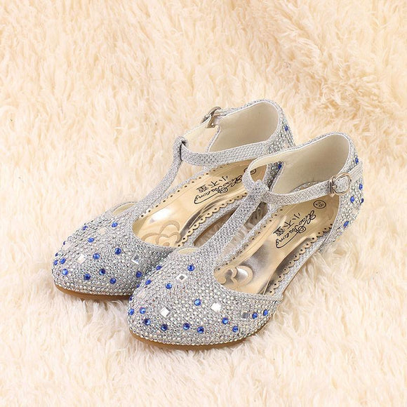 WENDYWU spring autumn children fashion pu leather heeled shoe for baby girsl rhinestone princess dance shoes gold toddler