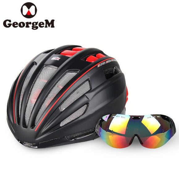 MTB Mountain Road Bicycle Cycling Helmet Windproof Glasses Bike Helmet MTB Insect Net Integrally Molded Men Women