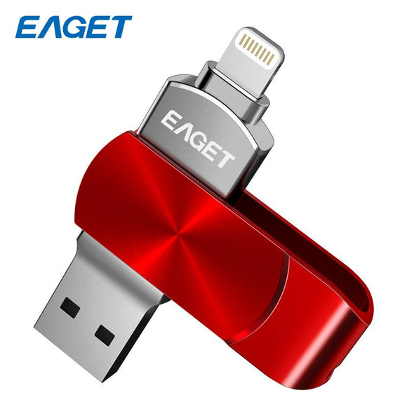 Eaget I66 OTG USB 3.0 Flash Drive 64Gb U Disk Pendrive 128GB flash disk Encryption MFI Metal Pen drive For iPhone 7plus laptop