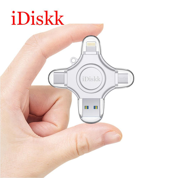 iDiskk USB Flash Drive 64GB Fingerprint Unlock High Speed Memory Stick Encryption 4 in 1 USB 3.0 for Phone/Tablet/PC Pendrive