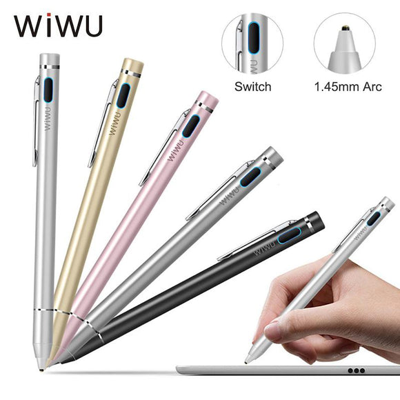 WIWU Universal Active Stylus Pen Metal Capacitive Touch Screen Pencil Tablet Touch Pens For Apple iPad Xiaomi Samsung With Pouch