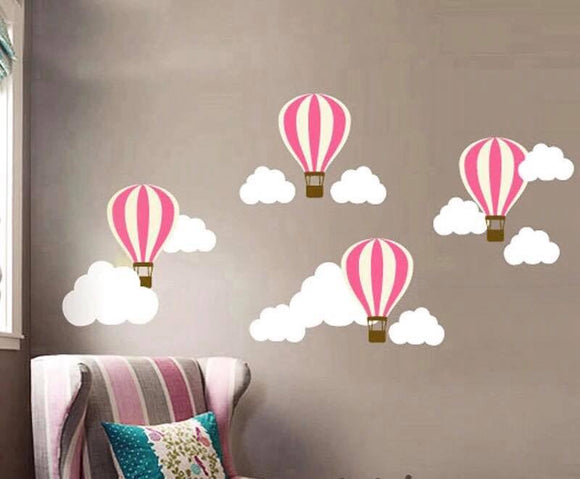 Hot Air Balloons and Cloud Wall Decal Sticker Set