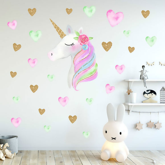 Sparkling Stars, Hearts & Unicorn Wall Decal Sticker Set