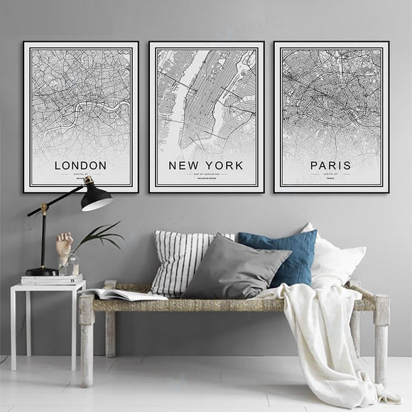 Black and White City Map
