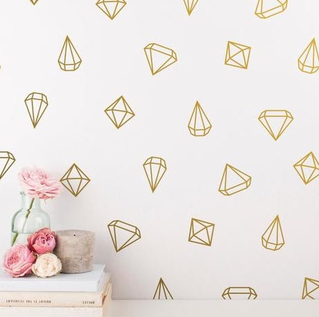 Geometric Diamond Wall Decal Sticker Set for Bedroom