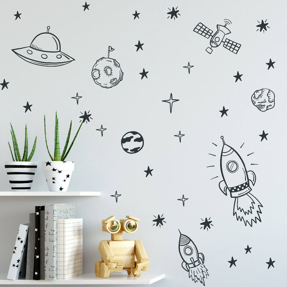 Spaceship, Planets, and Astronaut Outer Space Wall Decal Set